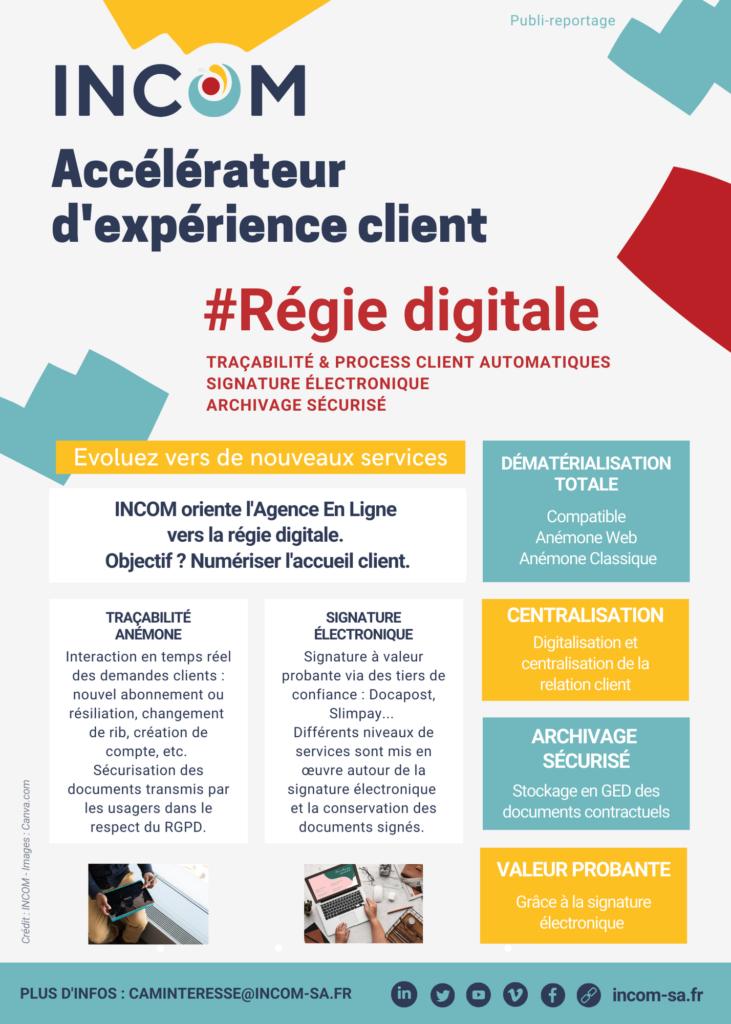 INCOM :  interactions et suivi en temps réel des demandes clients grâce à la Régie digitale